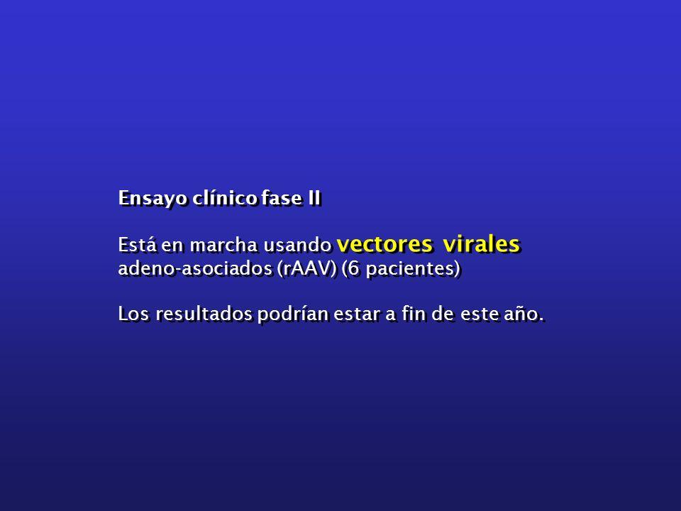 Ensayo clínico fase II Está en marcha usando vectores virales adeno-asociados (rAAV) (6 pacientes) Los resultados podrían estar a fin de este año. Ens