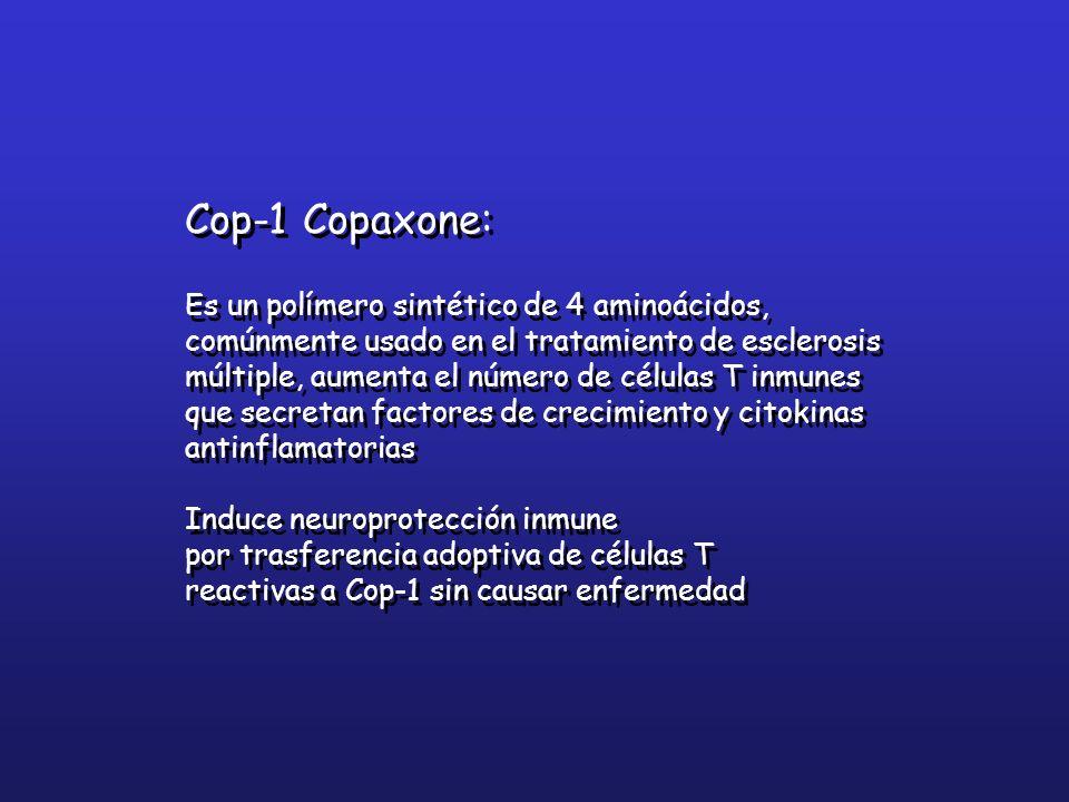 Cop-1 Copaxone: Es un polímero sintético de 4 aminoácidos, comúnmente usado en el tratamiento de esclerosis múltiple, aumenta el número de células T i