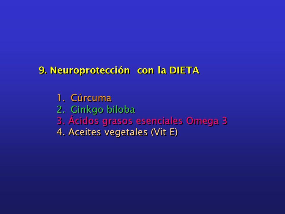 9. Neuroprotección con la DIETA 1.Cúrcuma 2.Ginkgo biloba 3. Ácidos grasos esenciales Omega 3 4. Aceites vegetales (Vit E) 1.Cúrcuma 2.Ginkgo biloba 3
