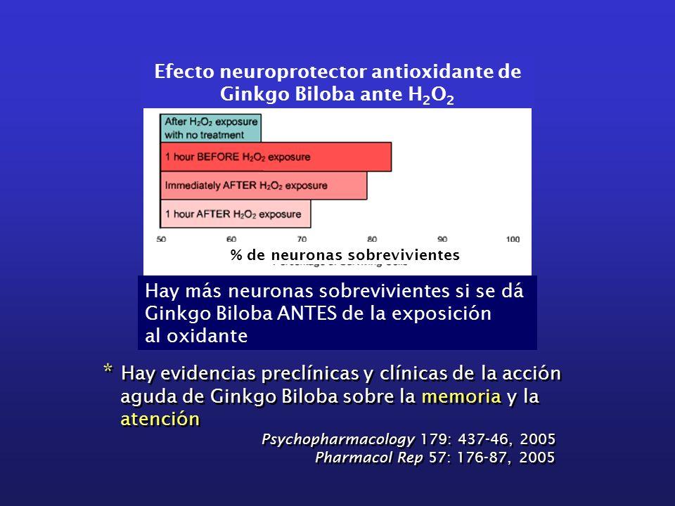 Efecto neuroprotector antioxidante de Ginkgo Biloba ante H 2 O 2 Hay más neuronas sobrevivientes si se dá Ginkgo Biloba ANTES de la exposición al oxid