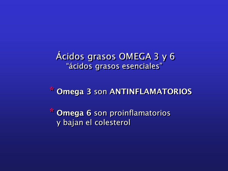 Ácidos grasos OMEGA 3 y 6 ácidos grasos esenciales Ácidos grasos OMEGA 3 y 6 ácidos grasos esenciales * Omega 3 son ANTINFLAMATORIOS * Omega 6 son pro