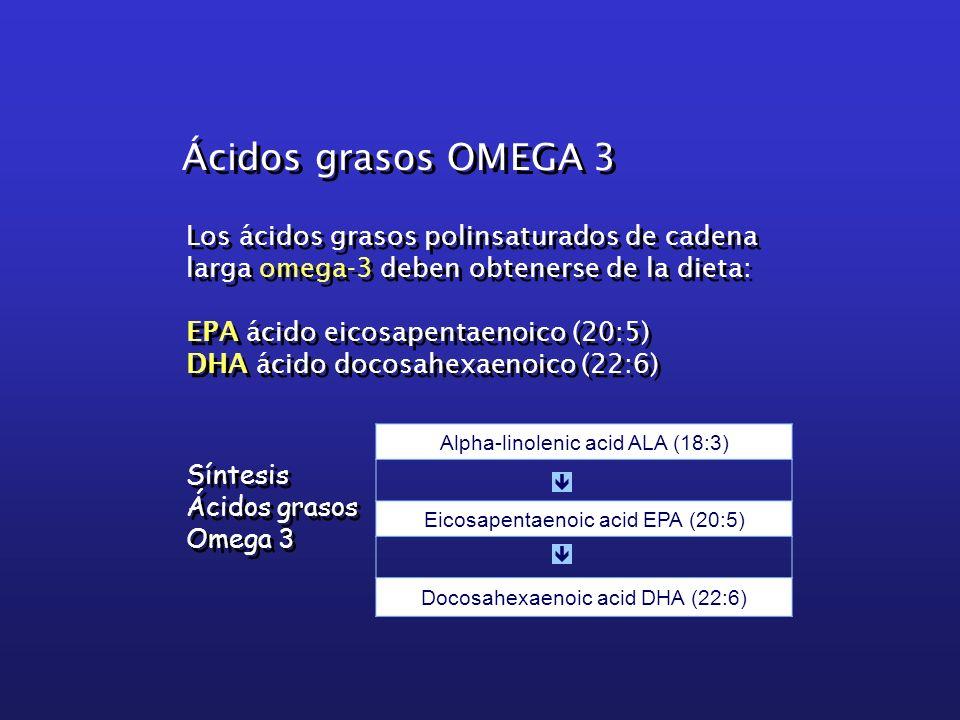 Ácidos grasos OMEGA 3 Los ácidos grasos polinsaturados de cadena larga omega-3 deben obtenerse de la dieta: EPA ácido eicosapentaenoico (20:5) DHA áci