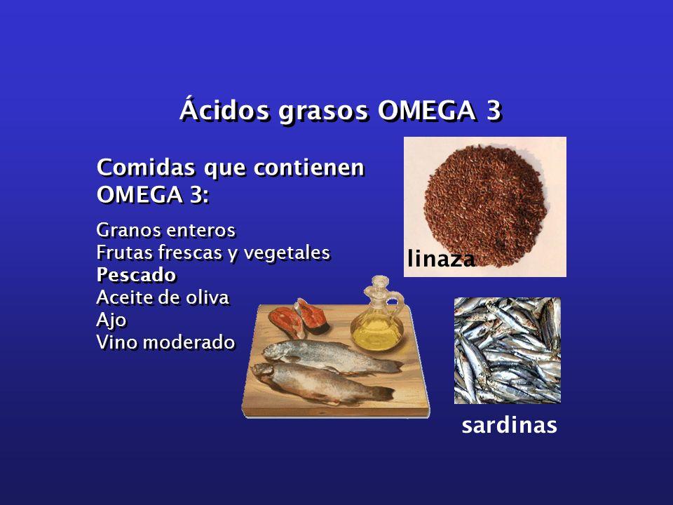 Ácidos grasos OMEGA 3 Comidas que contienen OMEGA 3: Granos enteros Frutas frescas y vegetales Pescado Aceite de oliva Ajo Vino moderado Comidas que c