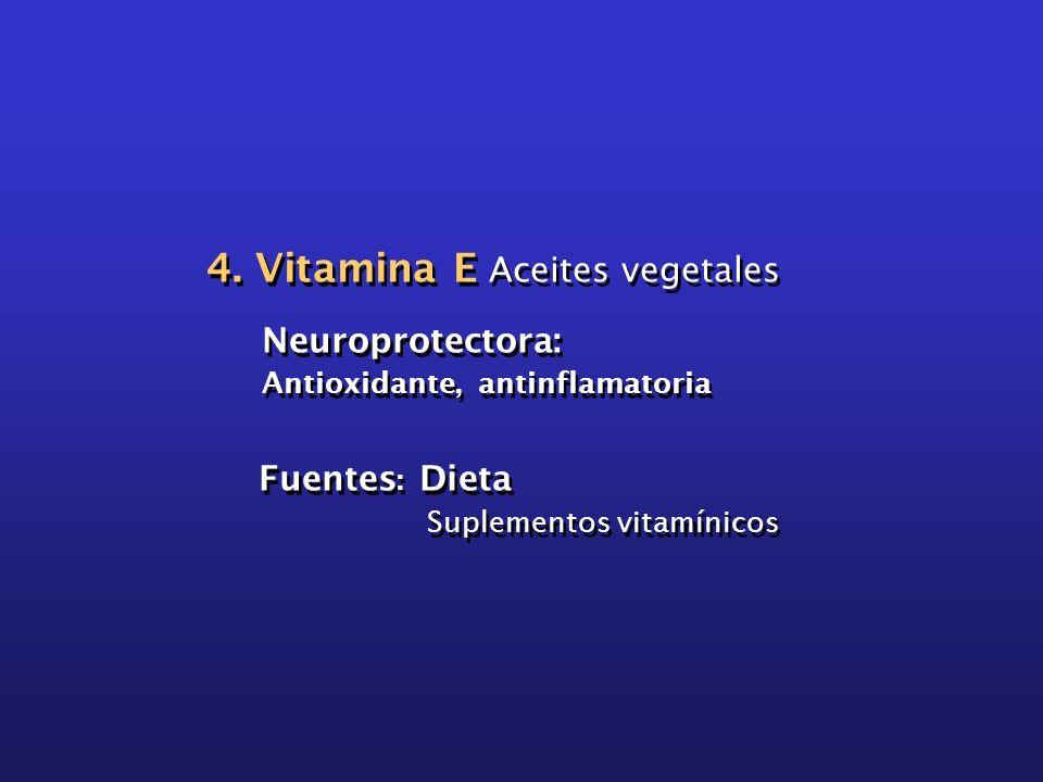 4. Vitamina E Aceites vegetales Neuroprotectora: Antioxidante, antinflamatoria Fuentes : Dieta Suplementos vitamínicos 4. Vitamina E Aceites vegetales