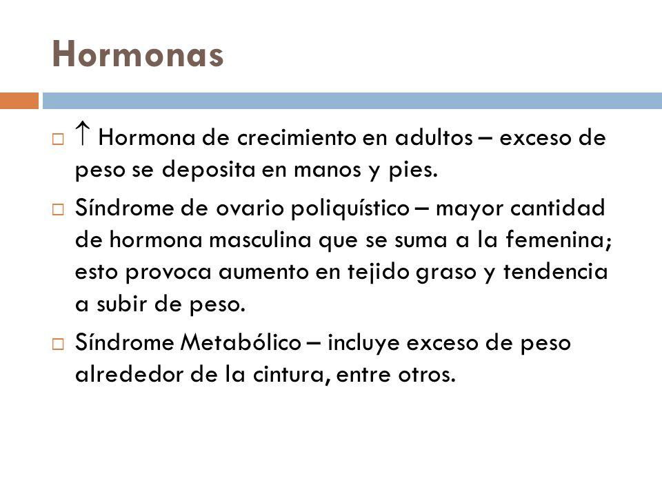 Hormonas Hormona de crecimiento en adultos – exceso de peso se deposita en manos y pies. Síndrome de ovario poliquístico – mayor cantidad de hormona m