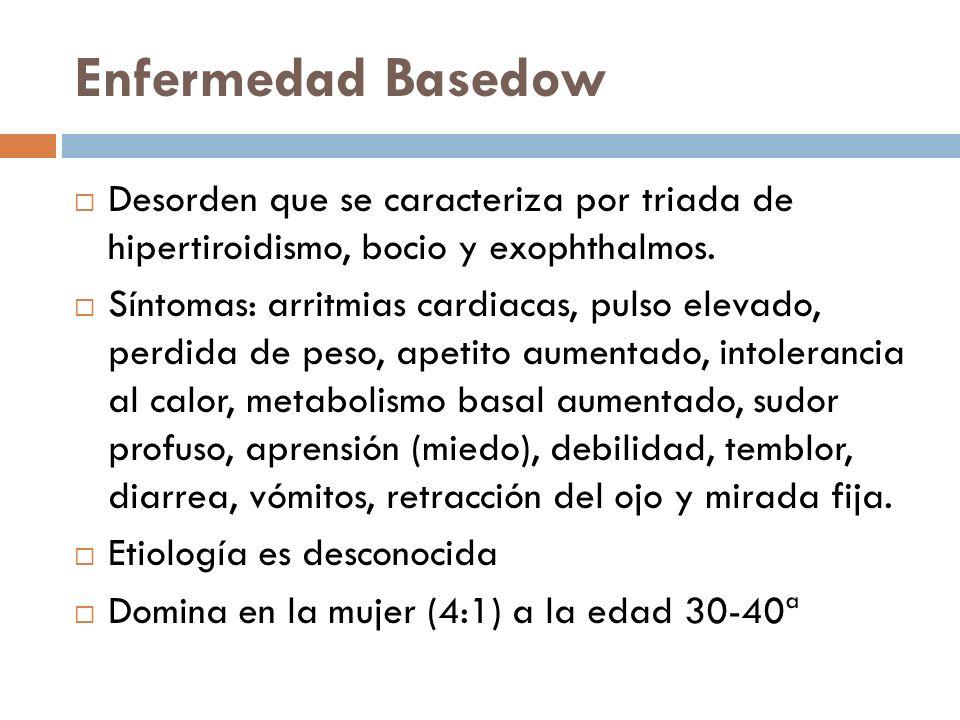 Enfermedad Basedow Desorden que se caracteriza por triada de hipertiroidismo, bocio y exophthalmos. Síntomas: arritmias cardiacas, pulso elevado, perd