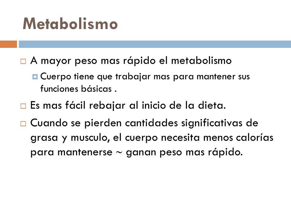 Metabolismo A mayor peso mas rápido el metabolismo Cuerpo tiene que trabajar mas para mantener sus funciones básicas. Es mas fácil rebajar al inicio d