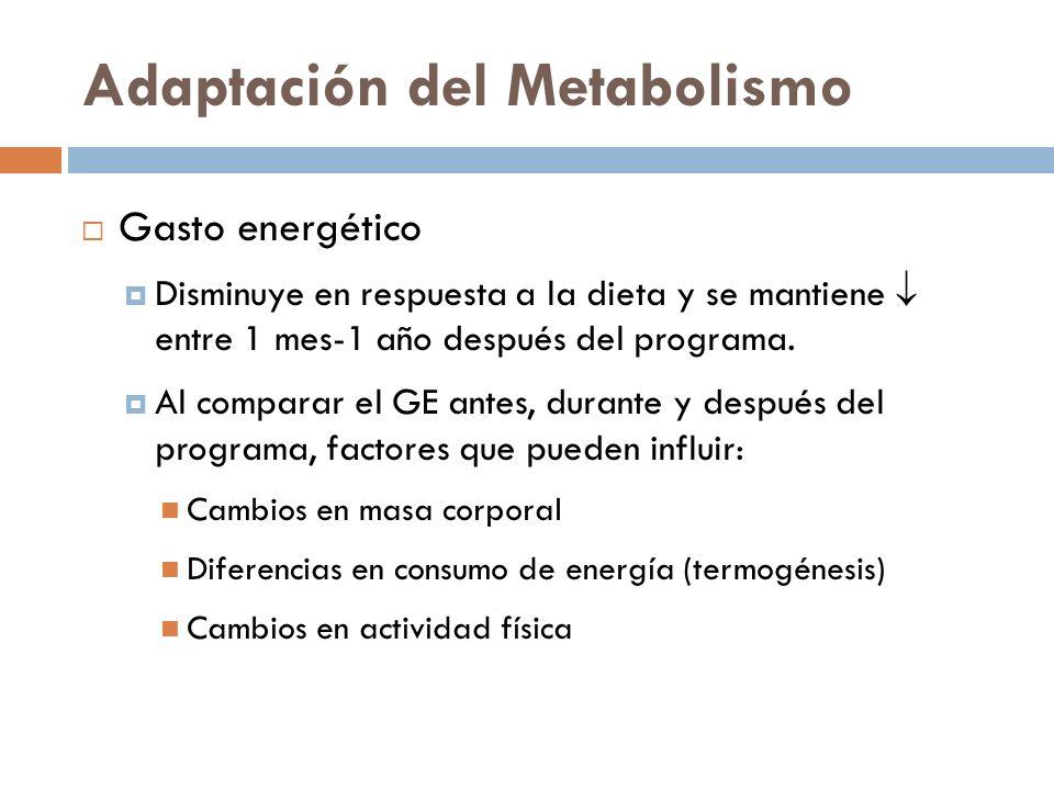 Adaptación del Metabolismo Gasto energético Disminuye en respuesta a la dieta y se mantiene entre 1 mes-1 año después del programa. Al comparar el GE