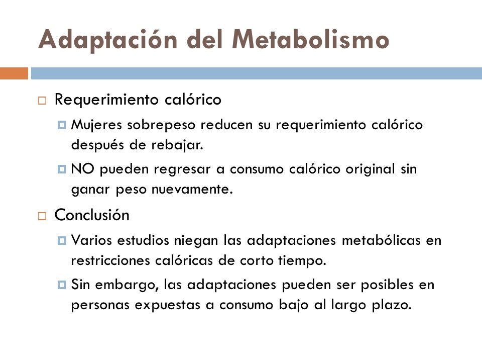 Adaptación del Metabolismo Requerimiento calórico Mujeres sobrepeso reducen su requerimiento calórico después de rebajar. NO pueden regresar a consumo