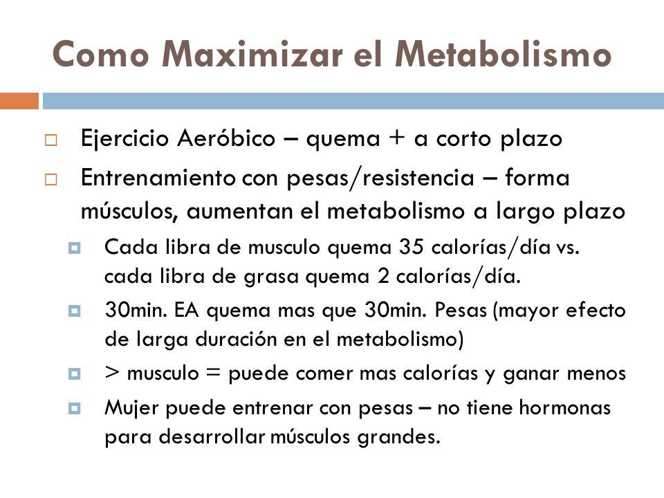 Como Maximizar el Metabolismo Ejercicio Aeróbico – quema + a corto plazo Entrenamiento con pesas/resistencia – forma músculos, aumentan el metabolismo a largo plazo Cada libra de musculo quema 35 calorías/día vs.