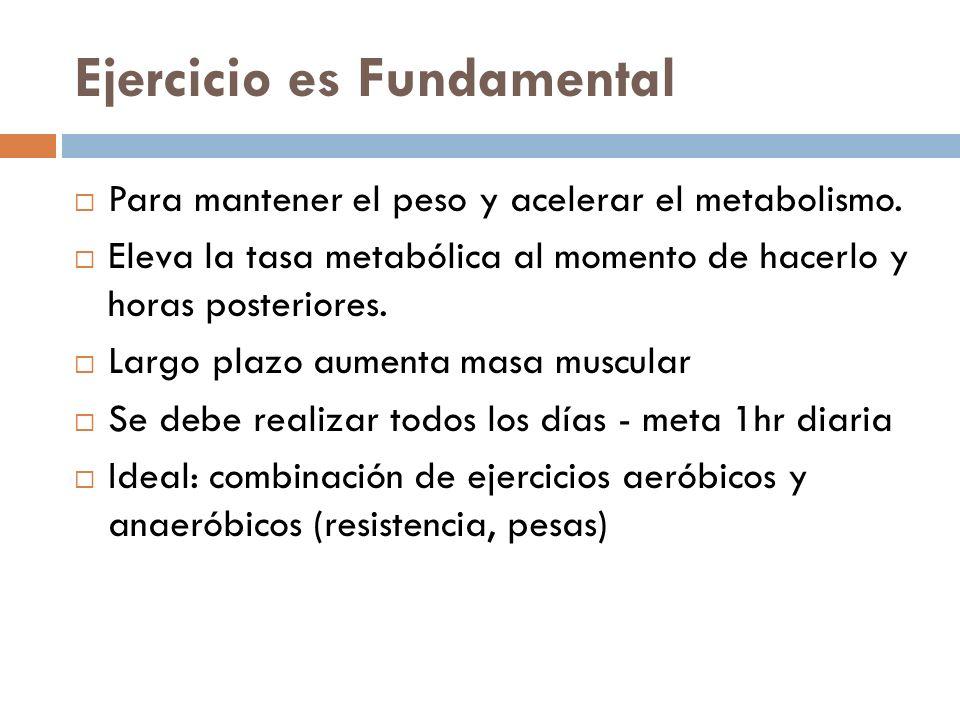 Ejercicio es Fundamental Para mantener el peso y acelerar el metabolismo. Eleva la tasa metabólica al momento de hacerlo y horas posteriores. Largo pl