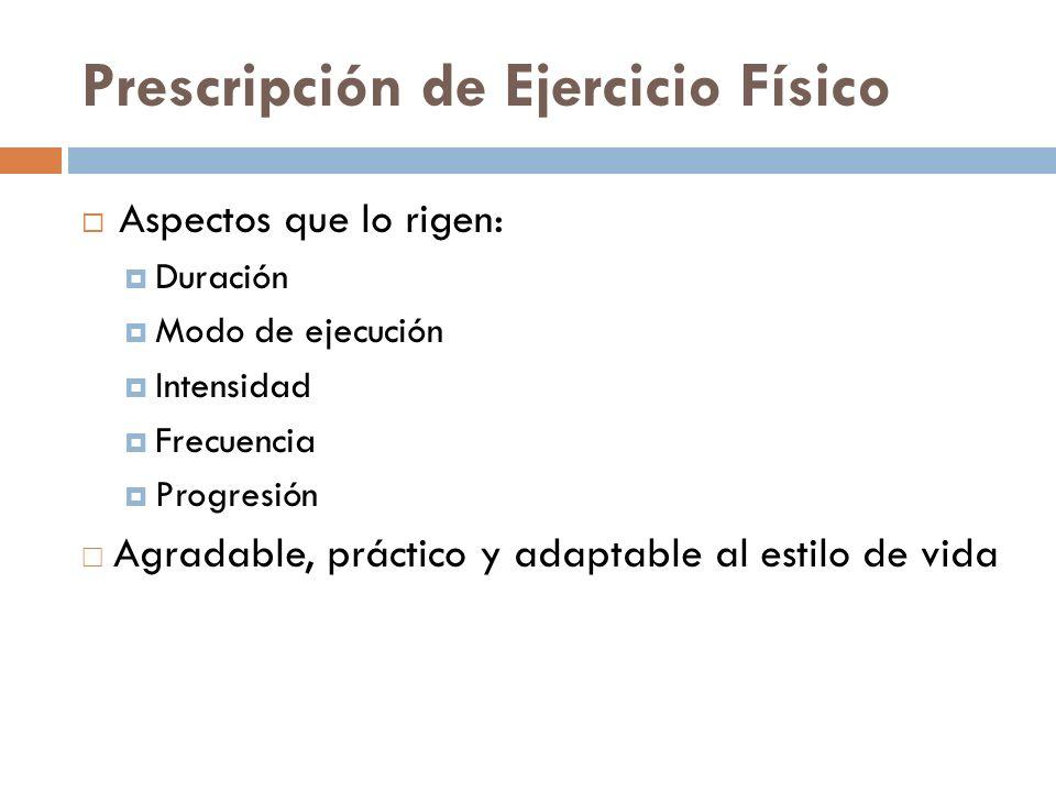 Prescripción de Ejercicio Físico Aspectos que lo rigen: Duración Modo de ejecución Intensidad Frecuencia Progresión Agradable, práctico y adaptable al