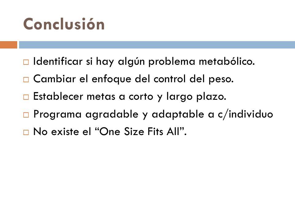 Conclusión Identificar si hay algún problema metabólico. Cambiar el enfoque del control del peso. Establecer metas a corto y largo plazo. Programa agr