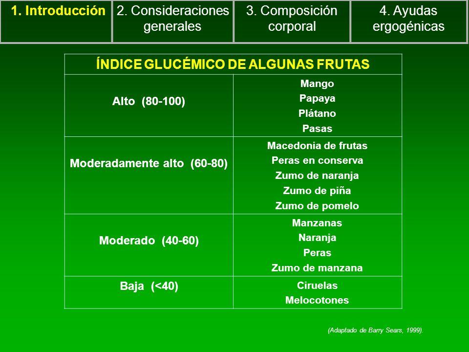 1. Introducción2. Consideraciones generales 3. Composición corporal 4. Ayudas ergogénicas ÍNDICE GLUCÉMICO DE ALGUNAS FRUTAS Alto (80-100) Mango Papay