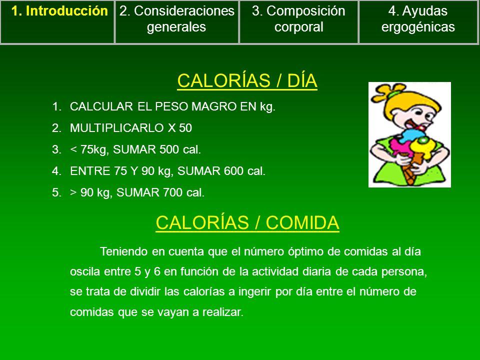 CALORÍAS / DÍA 1.CALCULAR EL PESO MAGRO EN kg. 2.MULTIPLICARLO X 50 3.< 75kg, SUMAR 500 cal. 4.ENTRE 75 Y 90 kg, SUMAR 600 cal. 5.> 90 kg, SUMAR 700 c