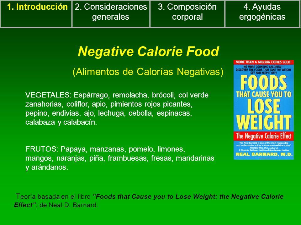 Negative Calorie Food (Alimentos de Calorías Negativas) 1. Introducción2. Consideraciones generales 3. Composición corporal 4. Ayudas ergogénicas VEGE