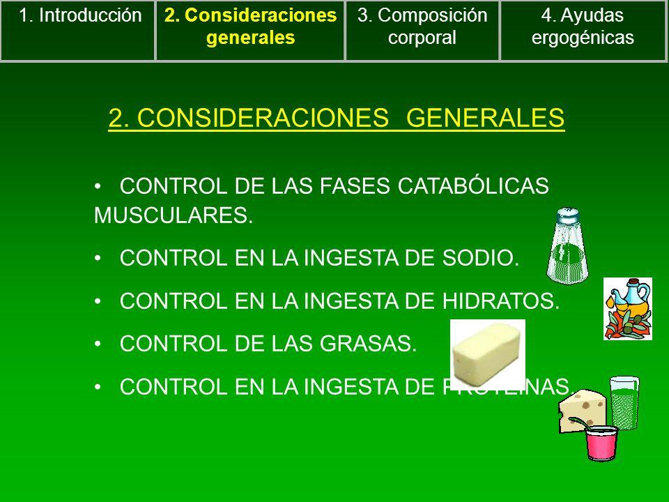 2. CONSIDERACIONES GENERALES CONTROL DE LAS FASES CATABÓLICAS MUSCULARES. CONTROL EN LA INGESTA DE SODIO. CONTROL EN LA INGESTA DE HIDRATOS. CONTROL D