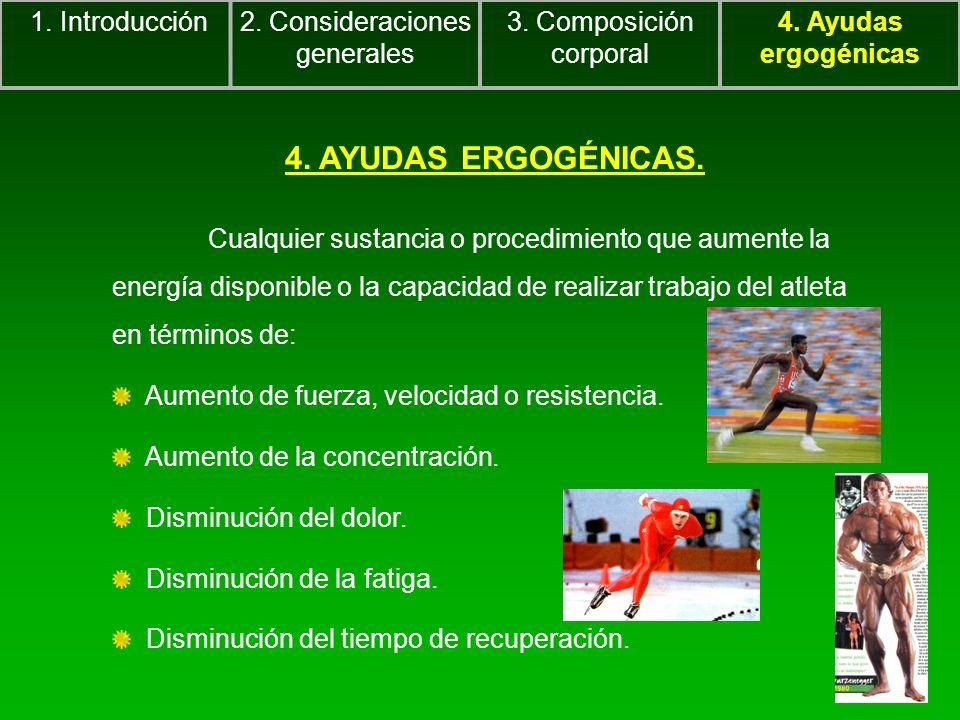 4. AYUDAS ERGOGÉNICAS. Cualquier sustancia o procedimiento que aumente la energía disponible o la capacidad de realizar trabajo del atleta en términos