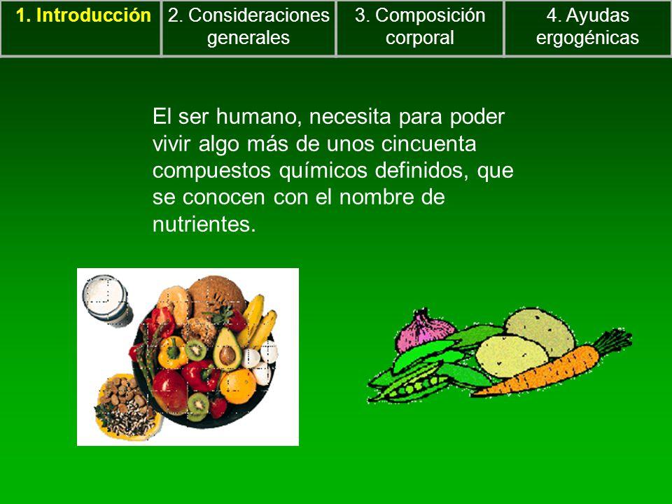 1. Introducción2. Consideraciones generales 3. Composición corporal 4. Ayudas ergogénicas El ser humano, necesita para poder vivir algo más de unos ci