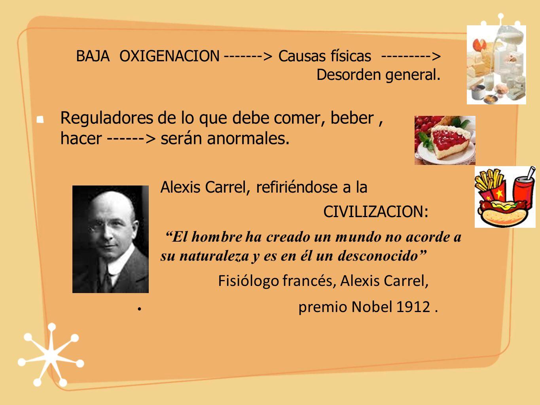 BAJA OXIGENACION -------> Causas físicas ---------> Desorden general.