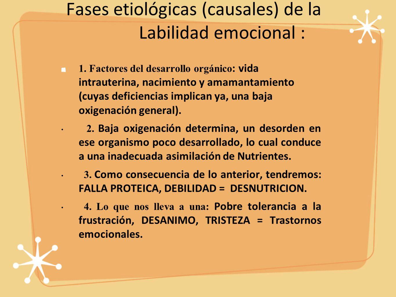 Fases etiológicas (causales) de la Labilidad emocional : 1.