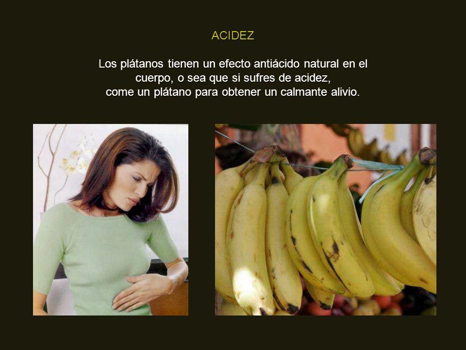 NAUSEAS MATUTINAS (propias del embarazo) Comer un plátano entre comidas ayuda a mantener los niveles de azúcar y evitar estas náuseas.