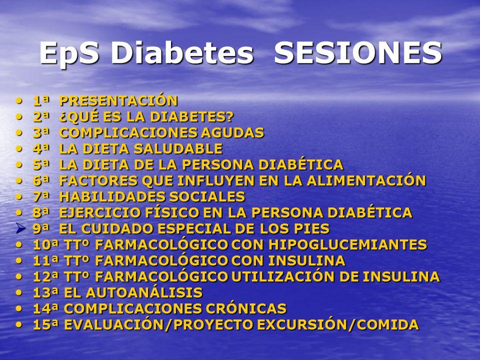 EpS Diabetes SESIONES 1ª PRESENTACIÓN 1ª PRESENTACIÓN 2ª ¿QUÉ ES LA DIABETES? 2ª ¿QUÉ ES LA DIABETES? 3ª COMPLICACIONES AGUDAS 3ª COMPLICACIONES AGUDA