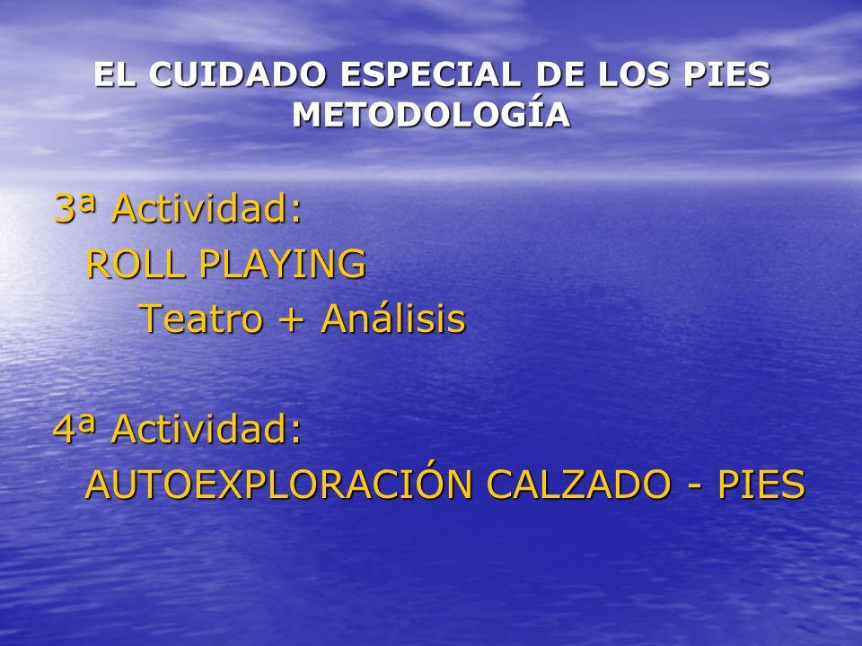 EL CUIDADO ESPECIAL DE LOS PIES METODOLOGÍA 3ª Actividad: ROLL PLAYING Teatro + Análisis 4ª Actividad: AUTOEXPLORACIÓN CALZADO - PIES