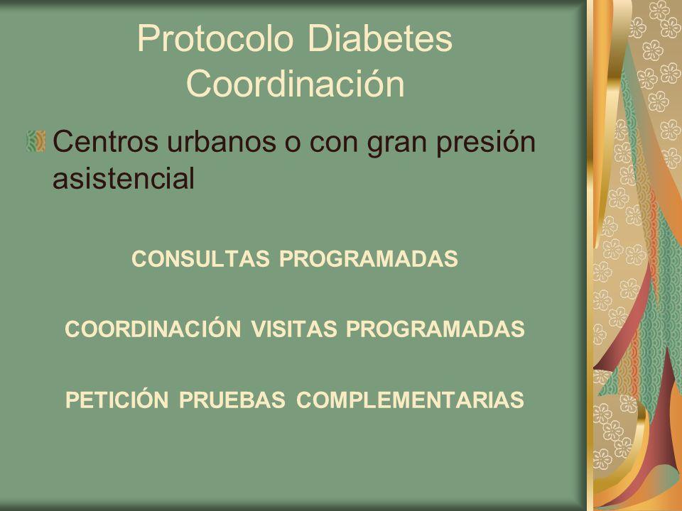 Protocolo Diabetes Coordinación Centros urbanos o con gran presión asistencial CONSULTAS PROGRAMADAS COORDINACIÓN VISITAS PROGRAMADAS PETICIÓN PRUEBAS