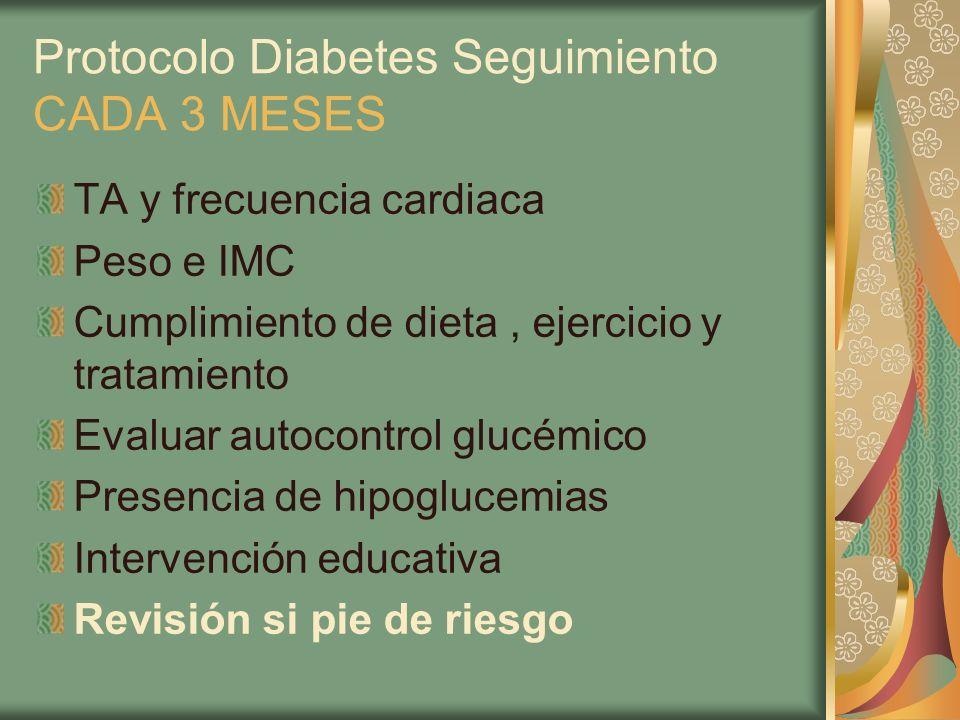 Protocolo Diabetes Seguimiento CADA 3 MESES TA y frecuencia cardiaca Peso e IMC Cumplimiento de dieta, ejercicio y tratamiento Evaluar autocontrol glu