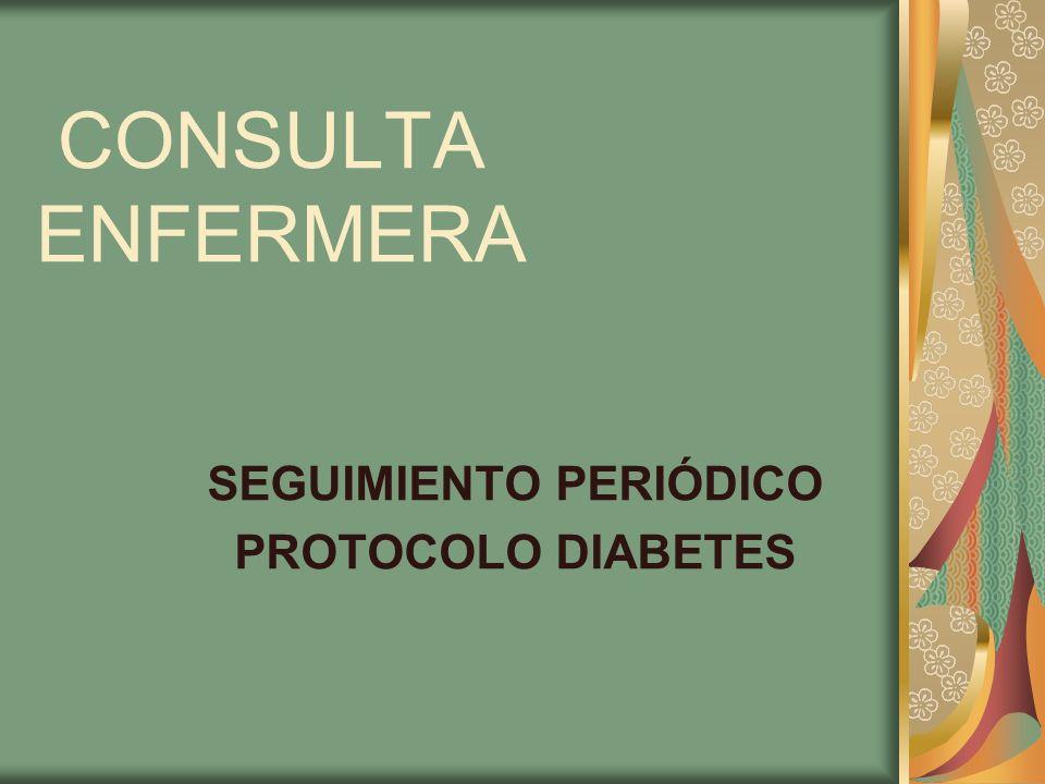CONSULTA ENFERMERA SEGUIMIENTO PERIÓDICO PROTOCOLO DIABETES