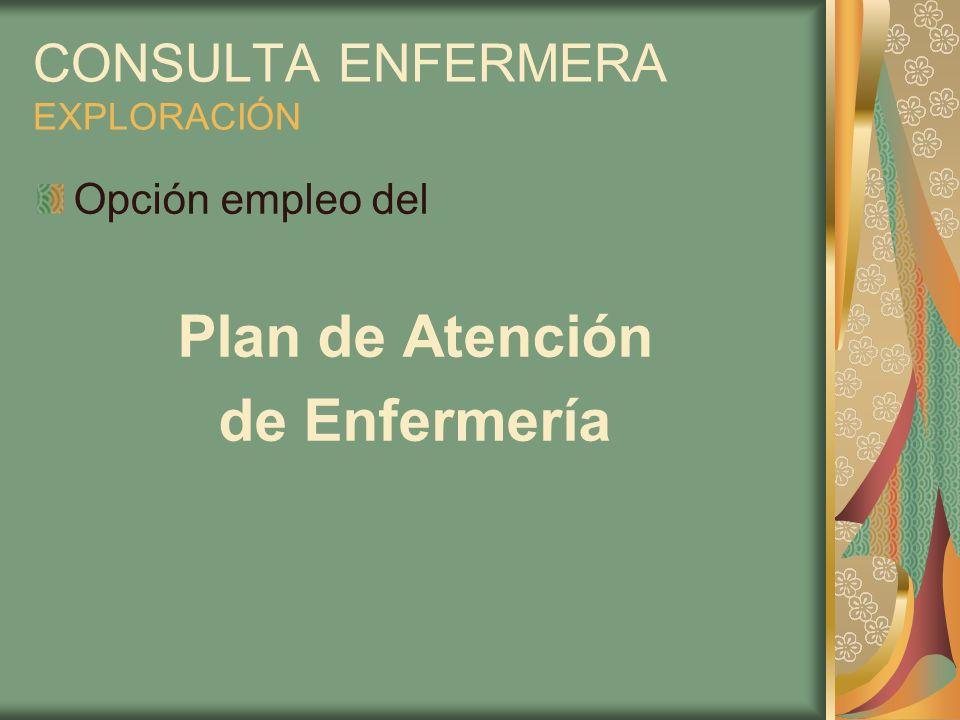 CONSULTA ENFERMERA EXPLORACIÓN Opción empleo del Plan de Atención de Enfermería
