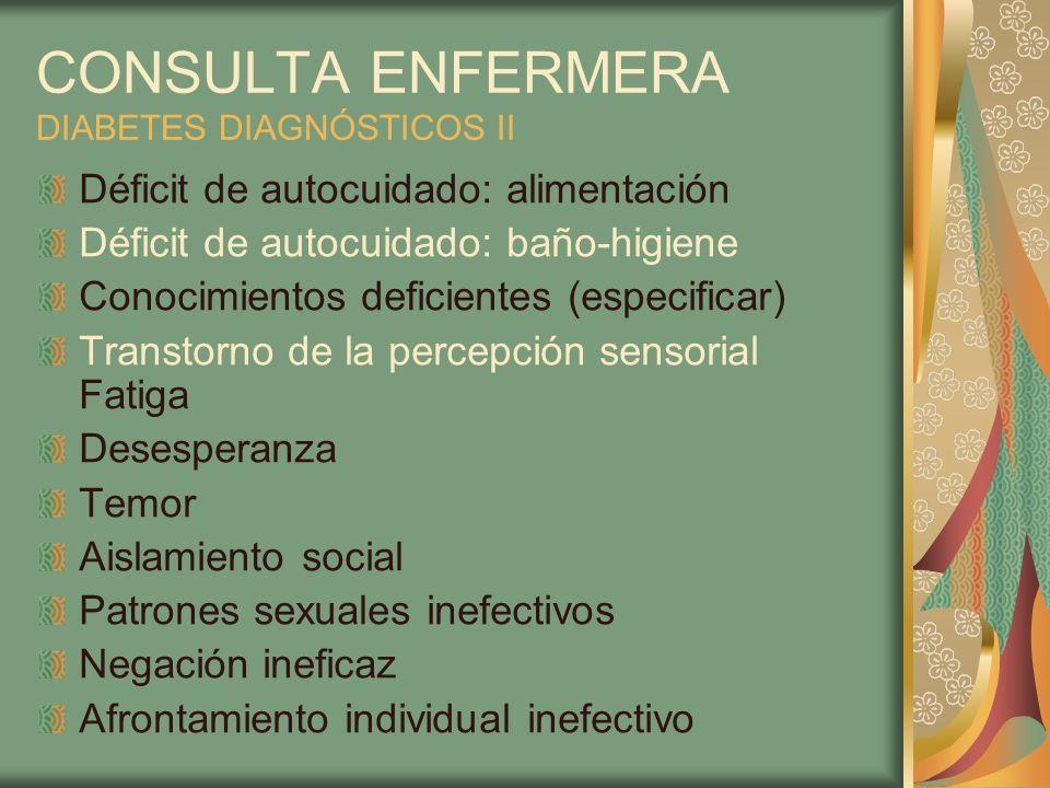 CONSULTA ENFERMERA DIABETES DIAGNÓSTICOS II Déficit de autocuidado: alimentación Déficit de autocuidado: baño-higiene Conocimientos deficientes (espec