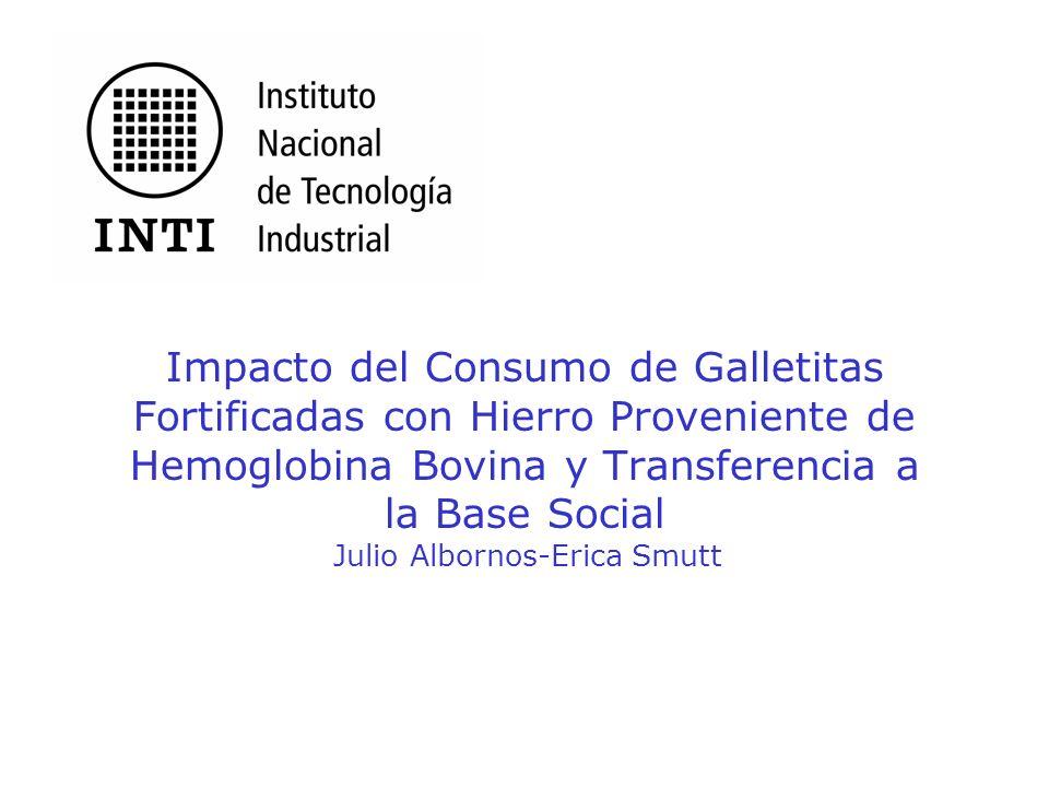 Objetivo Medir el impacto del consumo sostenido de las galletitas fortificados con hemoglobina bovina en la población infantil.