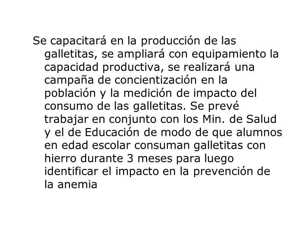 Centros y Programas involucrados: Las galletitas fortificadas son el resultado de un desarrollo realizado en el marco del Proyecto SECyT Nº 33/06 Desarrollo de productos panificados fortificados con hierro proveniente de hemoglobina, subproducto de la industria cárnica, presentado por INTI-Carnes, con actores internos: INTI-Carnes, INTI-Cereales y Oleaginosas, INTI-Concepción del Uruguay, INTI-Extensión, a través del Sub-programa ABC; y actores externos: Frigorífico Quickfood S.A.