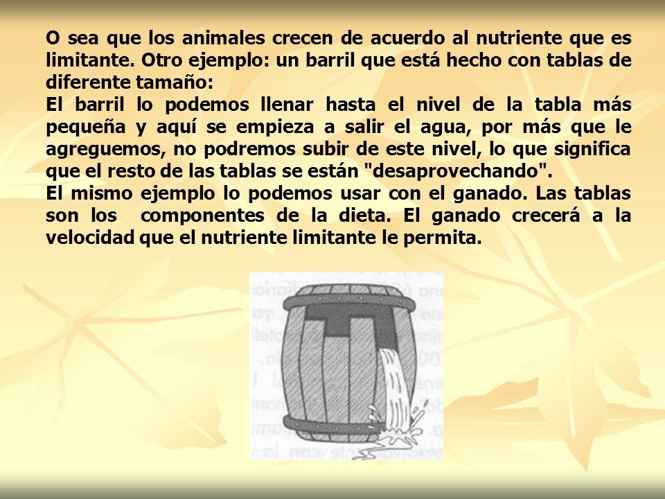 O sea que los animales crecen de acuerdo al nutriente que es limitante. Otro ejemplo: un barril que está hecho con tablas de diferente tamaño: El barr