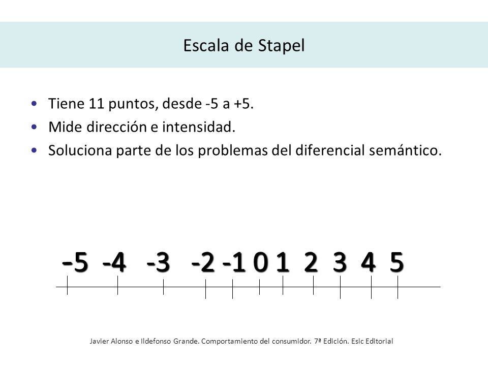 Escala de Stapel Tiene 11 puntos, desde -5 a +5. Mide dirección e intensidad. Soluciona parte de los problemas del diferencial semántico. - 5 -4 -3 -2