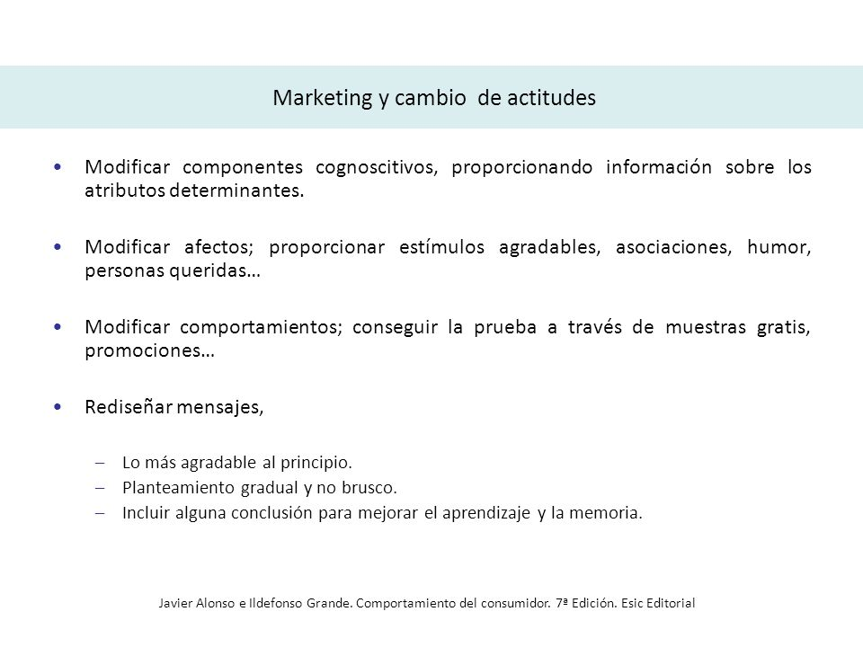 Marketing y cambio de actitudes Modificar componentes cognoscitivos, proporcionando información sobre los atributos determinantes. Modificar afectos;