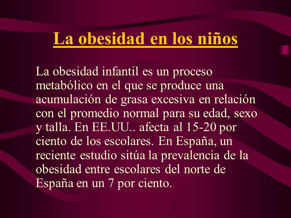 La obesidad en los niños La obesidad infantil es un proceso metabólico en el que se produce una acumulación de grasa excesiva en relación con el prome