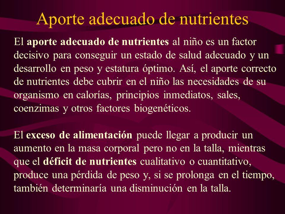 Aporte adecuado de nutrientes El aporte adecuado de nutrientes al niño es un factor decisivo para conseguir un estado de salud adecuado y un desarroll