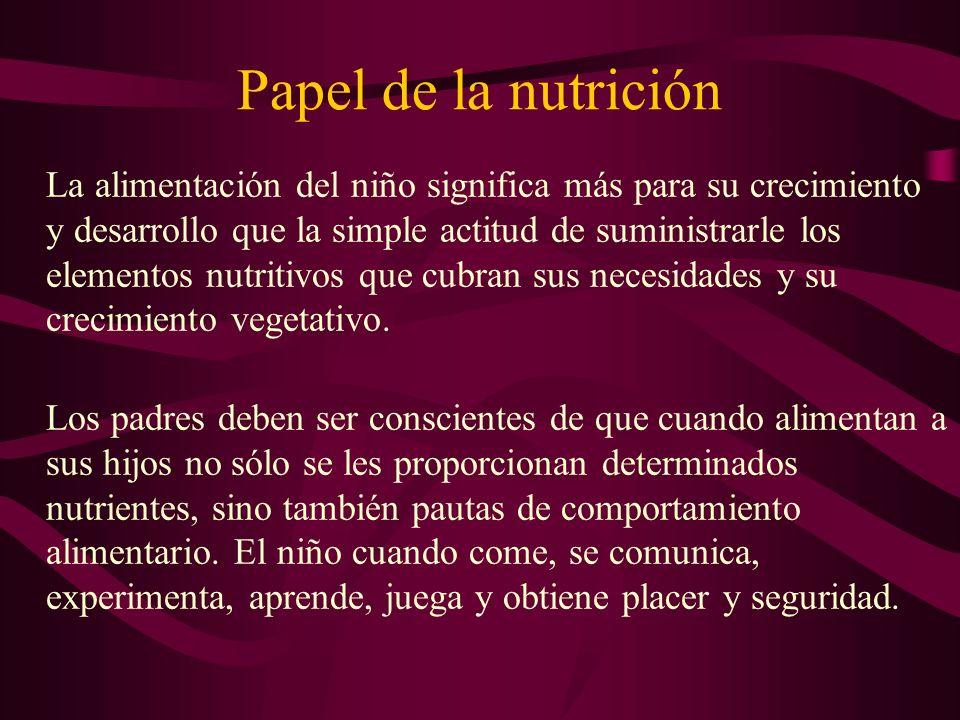 Papel de la nutrición La alimentación del niño significa más para su crecimiento y desarrollo que la simple actitud de suministrarle los elementos nut