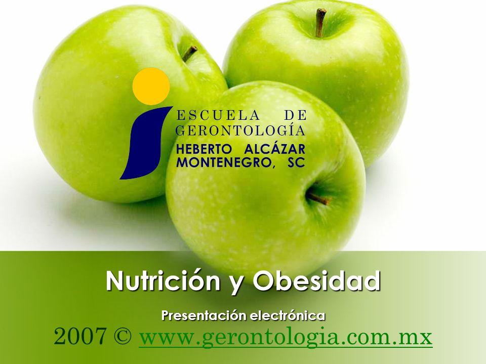 Nutrición y Obesidad Presentación electrónica 2007 © www.gerontologia.com.mxwww.gerontologia.com.mx