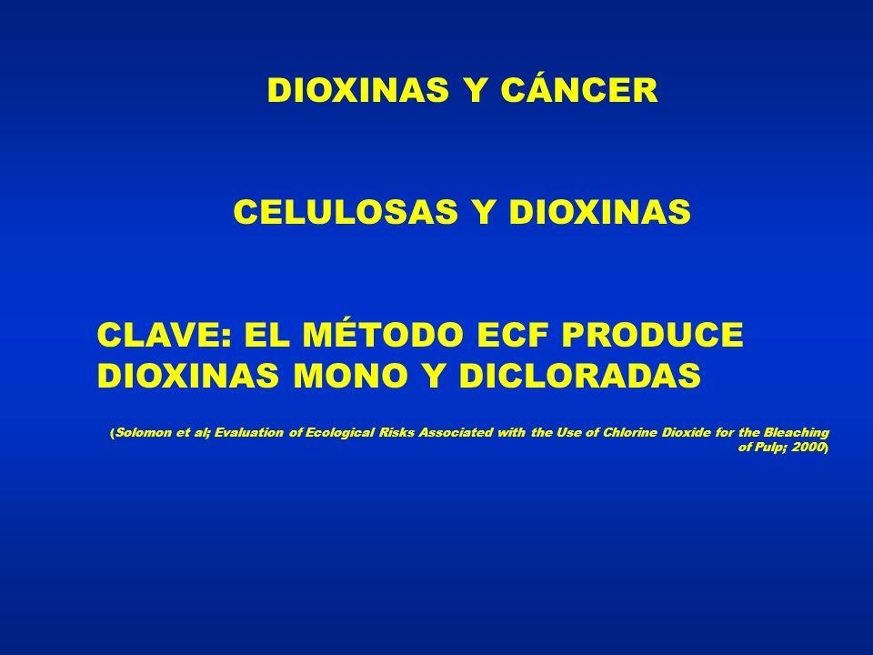 DIOXINAS Y CÁNCER CELULOSAS Y DIOXINAS CLAVE: EL MÉTODO ECF PRODUCE DIOXINAS MONO Y DICLORADAS (Solomon et al; Evaluation of Ecological Risks Associated with the Use of Chlorine Dioxide for the Bleaching of Pulp; 2000)
