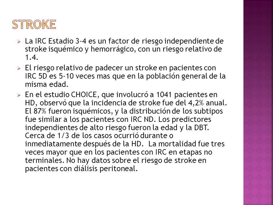 La IRC Estadio 3-4 es un factor de riesgo independiente de stroke isquémico y hemorrágico, con un riesgo relativo de 1.4. El riesgo relativo de padece