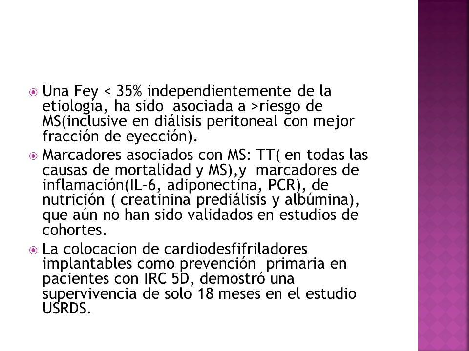 Una Fey riesgo de MS(inclusive en diálisis peritoneal con mejor fracción de eyección). Marcadores asociados con MS: TT( en todas las causas de mortali