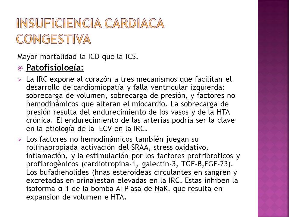 Mayor mortalidad la ICD que la ICS. Patofisiología: La IRC expone al corazón a tres mecanismos que facilitan el desarrollo de cardiomiopatía y falla v