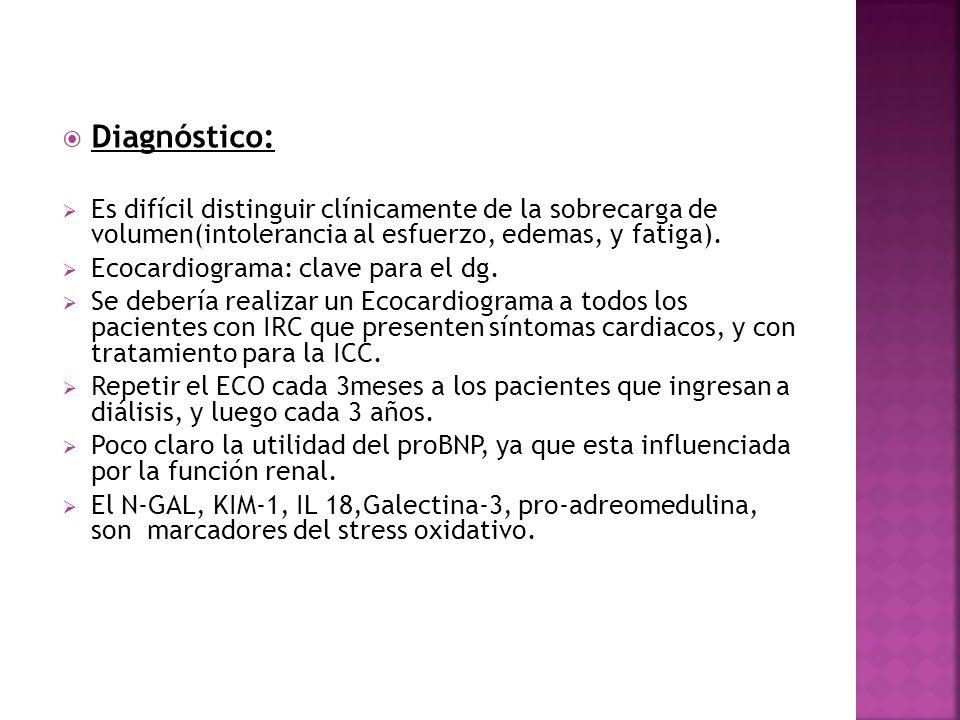 Prevención y tratamiento Restricción de sal.Cuidado con el uso de IECAs por la hiperkalemia.