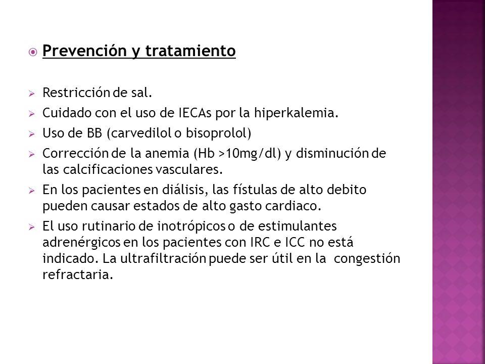 Prevención y tratamiento Restricción de sal. Cuidado con el uso de IECAs por la hiperkalemia. Uso de BB (carvedilol o bisoprolol) Corrección de la ane