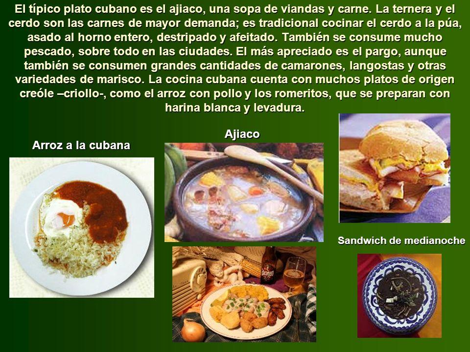 Los españoles llevaron a la dieta de la isla las legumbres, el arroz, las naranjas, los limones y el ganado vacuno. Los africanos incorporaron aliment