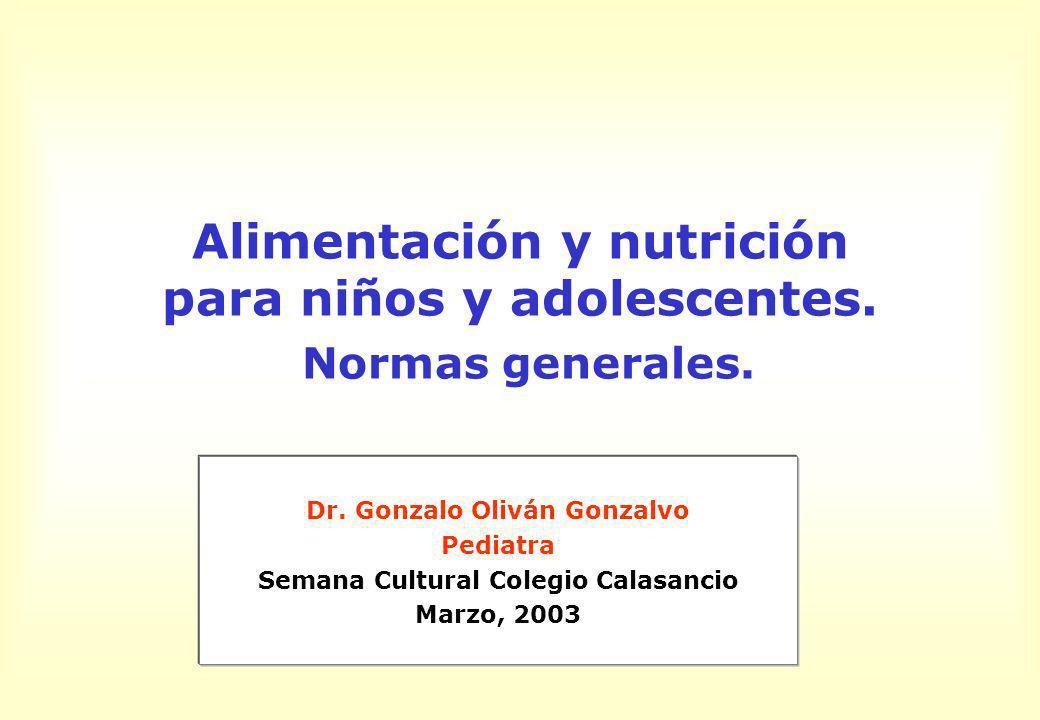 Alimentación y nutrición para niños y adolescentes. Normas generales. Dr. Gonzalo Oliván Gonzalvo Pediatra Semana Cultural Colegio Calasancio Marzo, 2